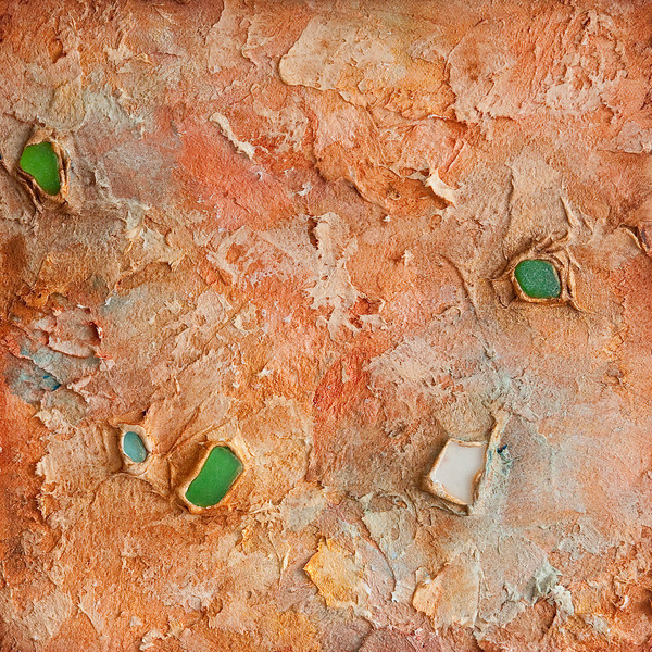 """Sea Stone 1""<br /> acrylic, sea glass, & mixed media on canvas<br /> 10"" x 10"""