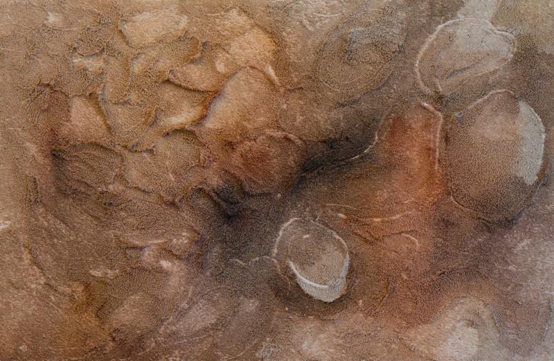 """""""Imprints""""<br /> sand & acrylic on wood<br /> 12"""" x 18"""""""