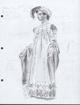 Study for Claire Claremont, Bloody Poetry.    Drawing of dress circa 1815, Museum of Costume at Bath