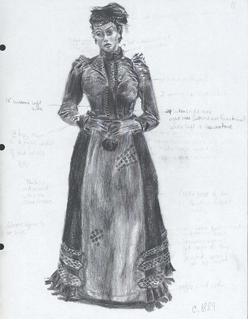 Study for Edna in The Awakening  Drawing of dress circa 1889, Museum of Costume at Bath