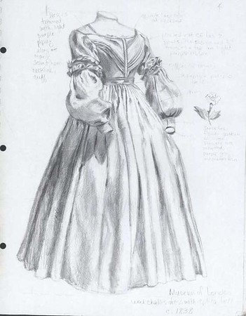 Drawing of dress circa 1838, Museum of London