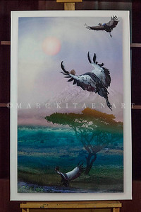 """WEST AFRICAN CRANES"" / Sale Price: $230.00 / Canvas Gallery Wrap 25"" in. x 40"" in. / (#2 Limited Edition print)"