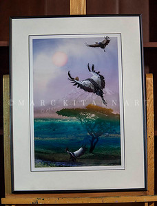 """WEST AFRICAN CRANES"" / On Sale Price: $125.00 / Metal Frame 18"" in. X 24"" in."