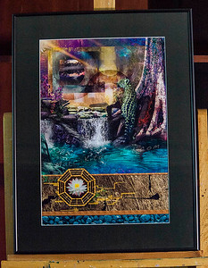 """LEOPARD LAGOON""  / Sale Price: $125.00 / Metal Frame / 18"" in. X 24"" in."