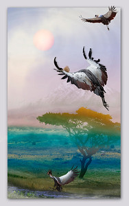 West Africian Crested Cranes of Kilamanjaro
