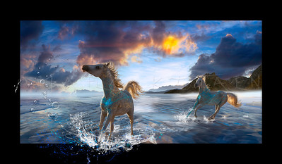 HORSE'S OF STELLAR ISLAND  (horizontal art)