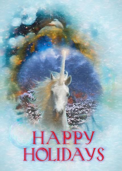 HHAPPY HOLIDAYS UNICORN ARABIAN HORSE