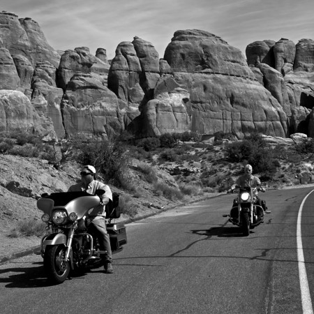 Biking in the Arches national park, USA