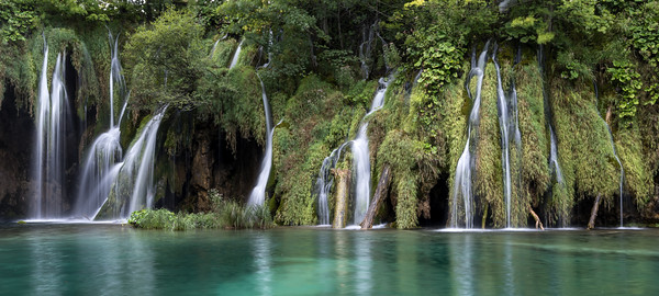 Panoramic image of waterfall at Plitvits lakes, Croatia
