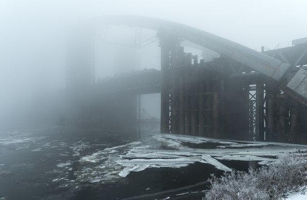 Podilsky bridge in the fog.