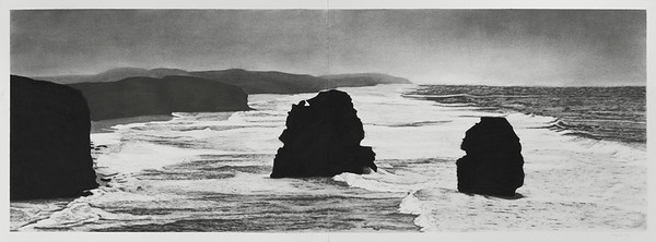 Coast View, charcoal on paper 52 x148cm diptych framed 73 x168cm
