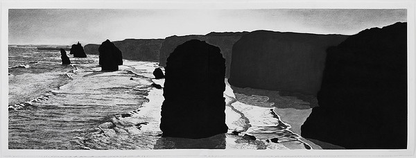 Twelve Apostles 2, charcoal on paper 52 x148cm diptych framed 73 x168cm