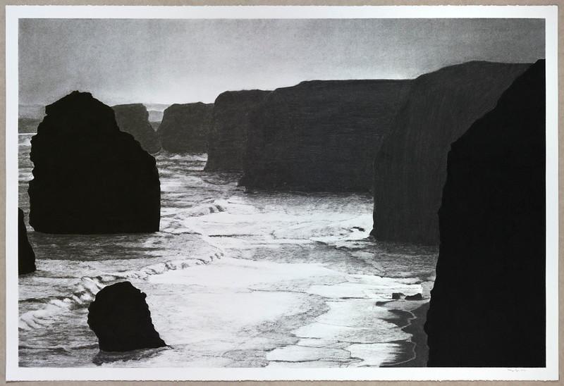 Coastline, Twelve Apostles, charcoal on paper 2016 SOLD