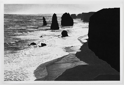 Twelve Apostles 3, charcoal on paper 71 x106.5cm Framed85 x119.5cm