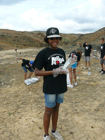 During the beach cleanup, this Junior Ranger Ambassador found a message in a bottle!