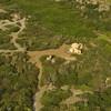 Aerial view of dry coast in Parke Nacional Arikok