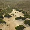 Aerial view of Aruba's dry landscape