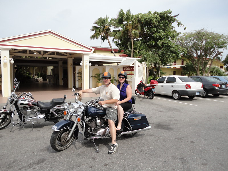 The entrance to Manchebo's open air lobby. My husband and I gearing up for our Harley Tour of Aruba!