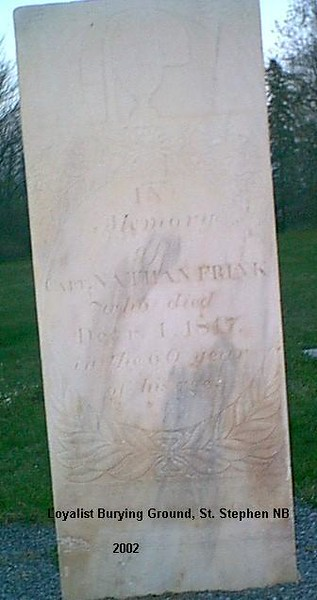 "Frink's gravestone. The inscription is:<br /> ""In memory of/Capt. Nathan Frink/who died/Dec 4, 1817/in the 60th year/of his age"""