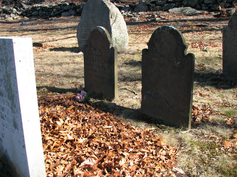 The matching gravestones are those of the Latham's (Eunice on the left, and her husband's now-illegible stone on the right. Note the modern granite stone at the left of the photo. It will be shown in the next picture.