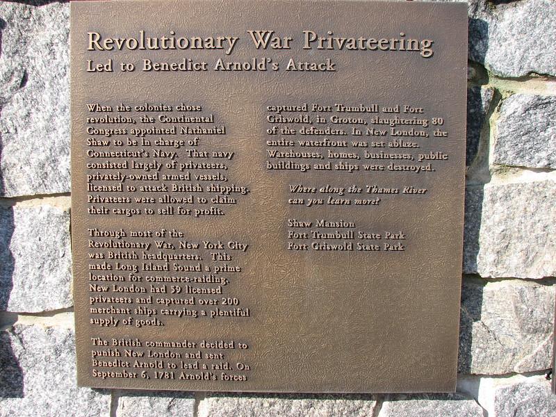 Plaque recalling Arnold's New London raid