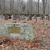 Looking into Morgan Pond Cemetery. The four Ft. Griswold massacre victims at in the row with flags.