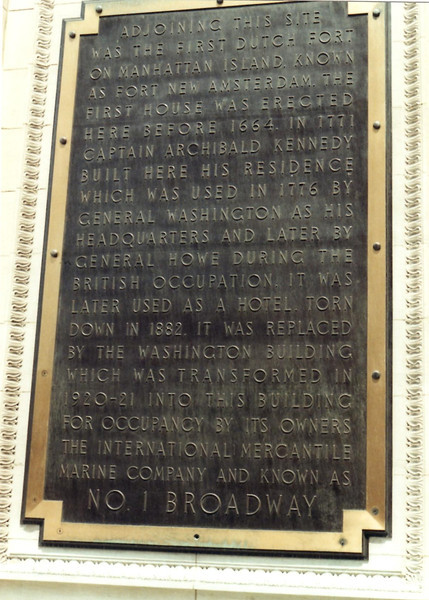 Large bronze plaque on the modern building at 1 Broadway