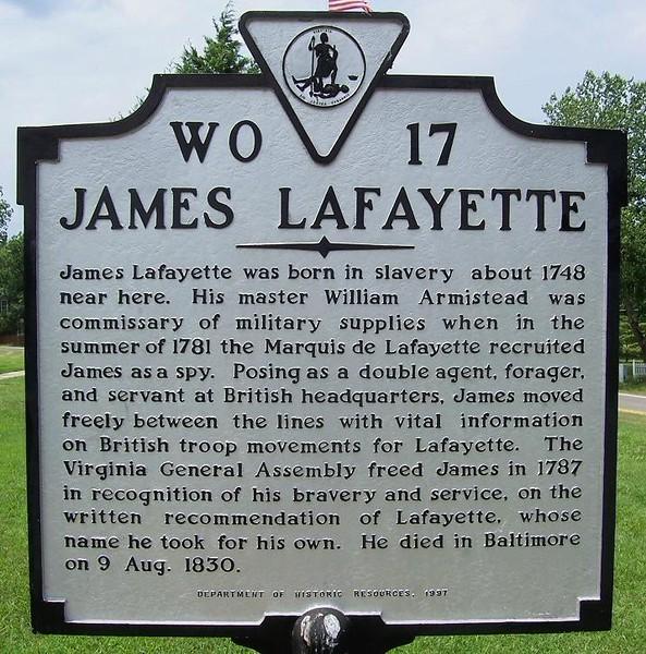 "Historical marker, as seen on  <a href=""http://littlebitsofhistory.blogspot.com/2012/02/james-lafayette.html"">http://littlebitsofhistory.blogspot.com/2012/02/james-lafayette.html</a>"