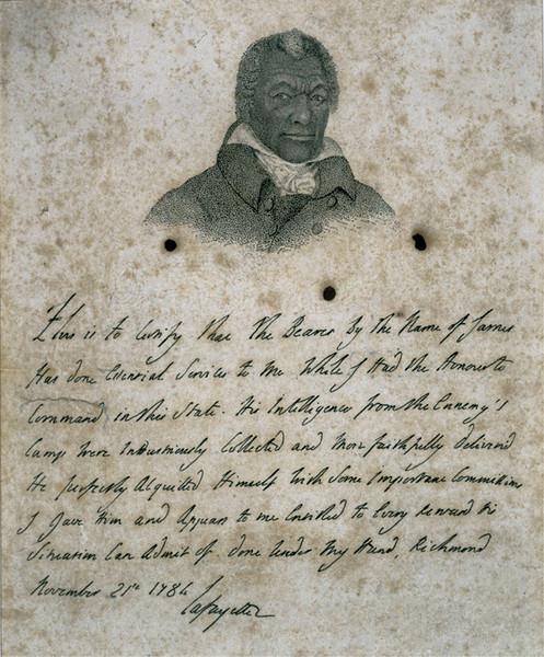 Lafayette's testimonial to James Armistead.<br /> Photo credit:  By Marquis de Lafayette [Public domain], via Wikimedia Commons