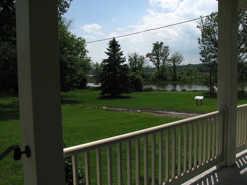 View of the landing from the porch of the house at the site