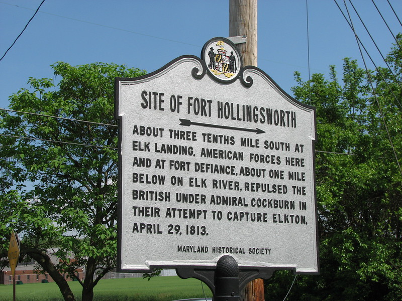 This historical marker, highlighting a War of 1812 event at the site, is at the same intersection