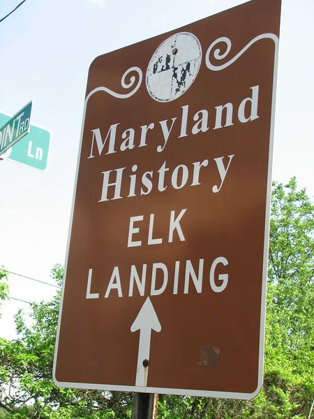A sign points the way at the corner of Landing Dr and Oldfield Point Rd in Elkton, MD