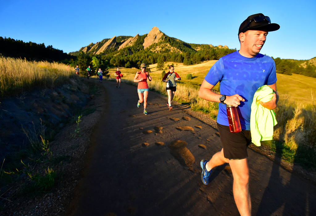 . Brad Dober heads down the mountain at the end of the Ascenders Project workout at Chautauqua in Boulder on Wednesday September 12, 2018.  For more photos go to dailycamera.com (Photo by Paul Aiken/Staff Photographer)