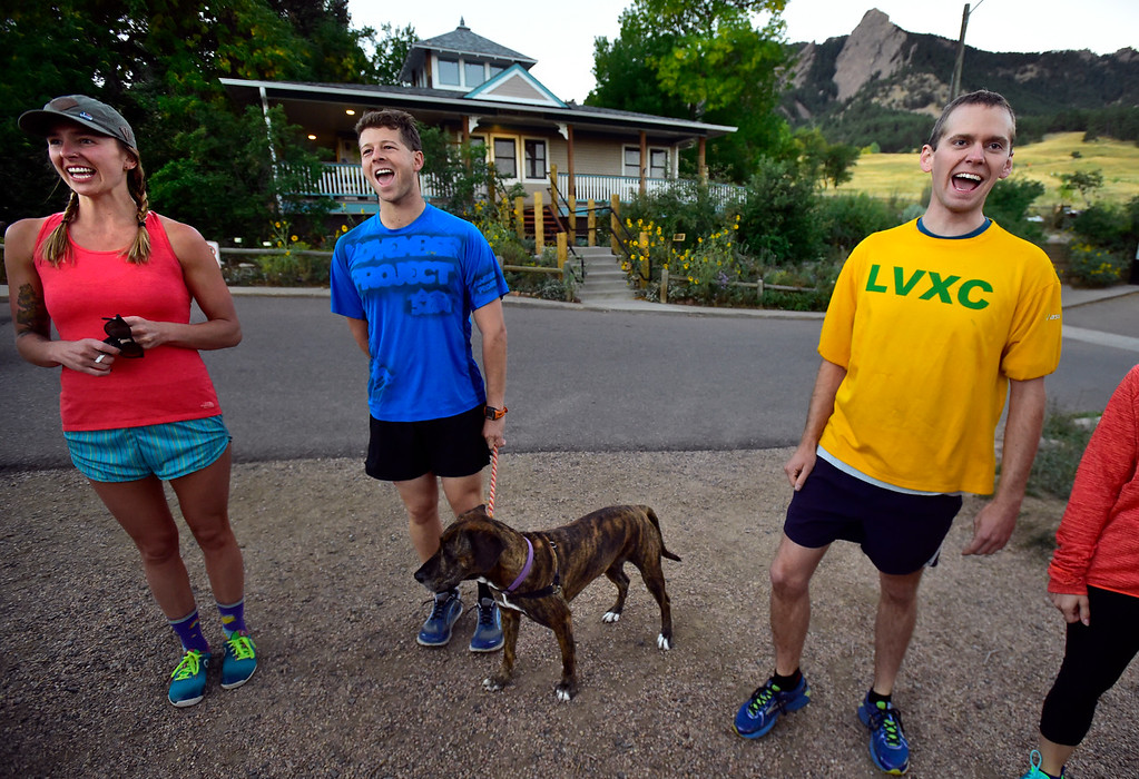 . Rachel Bigby, Matt Nadel with Kaia and TJ Kirk join in on a wakeup cheer at the Ascenders Project workout at Chautauqua in Boulder on Wednesday September 12, 2018.  For more photos go to dailycamera.com (Photo by Paul Aiken/Staff Photographer)