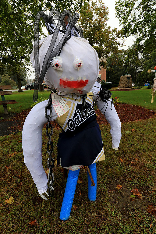 . Ashburnham is being taken over by scarecrows which you can go see in the downtown. This one being called Killer Cheerleader was made by Peyton. SENTINEL & ENTERPRISE/JOHN LOVE