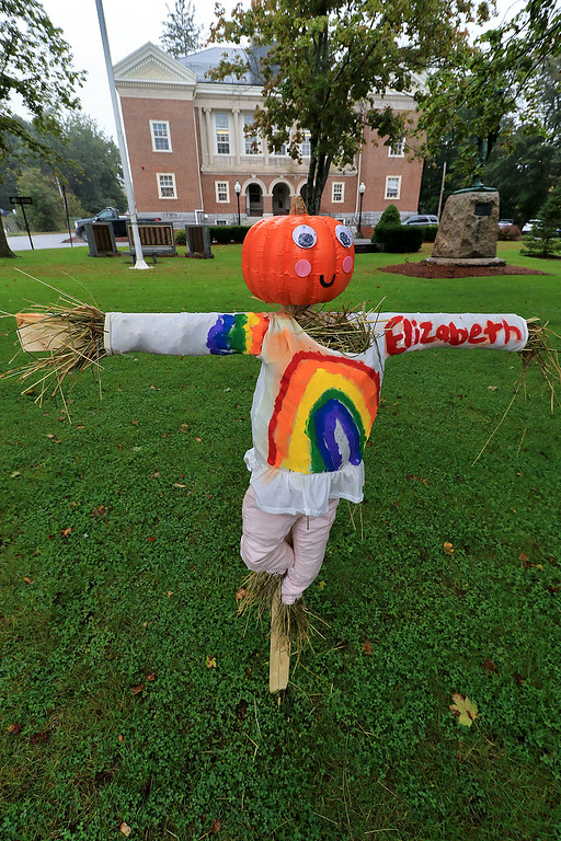 . Ashburnham is being taken over by scarecrows which you can go see in the downtown. This one with a pumpkin head and rainbows was made by Elizabeth. SENTINEL & ENTERPRISE/JOHN LOVE