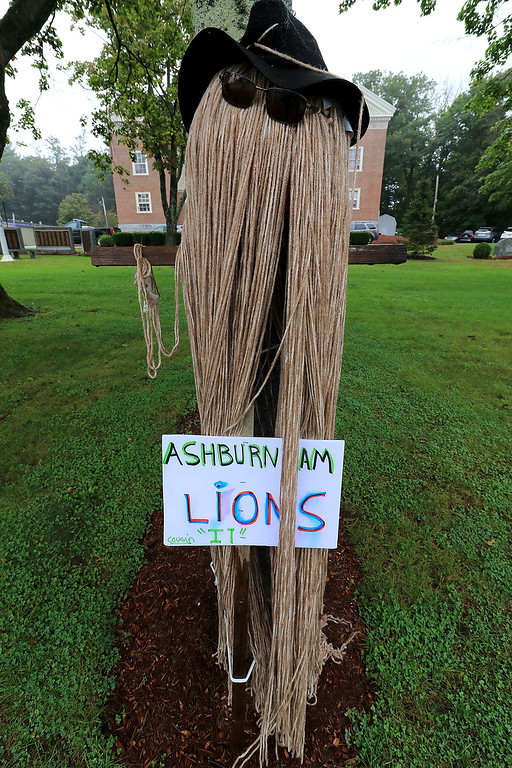 ". Ashburnham is being taken over by scarecrows which you can go see in the downtown. This one made by the Ashburnham Lions Club was the TV show character ""IT.\""  SENTINEL & ENTERPRISE/JOHN LOVE"