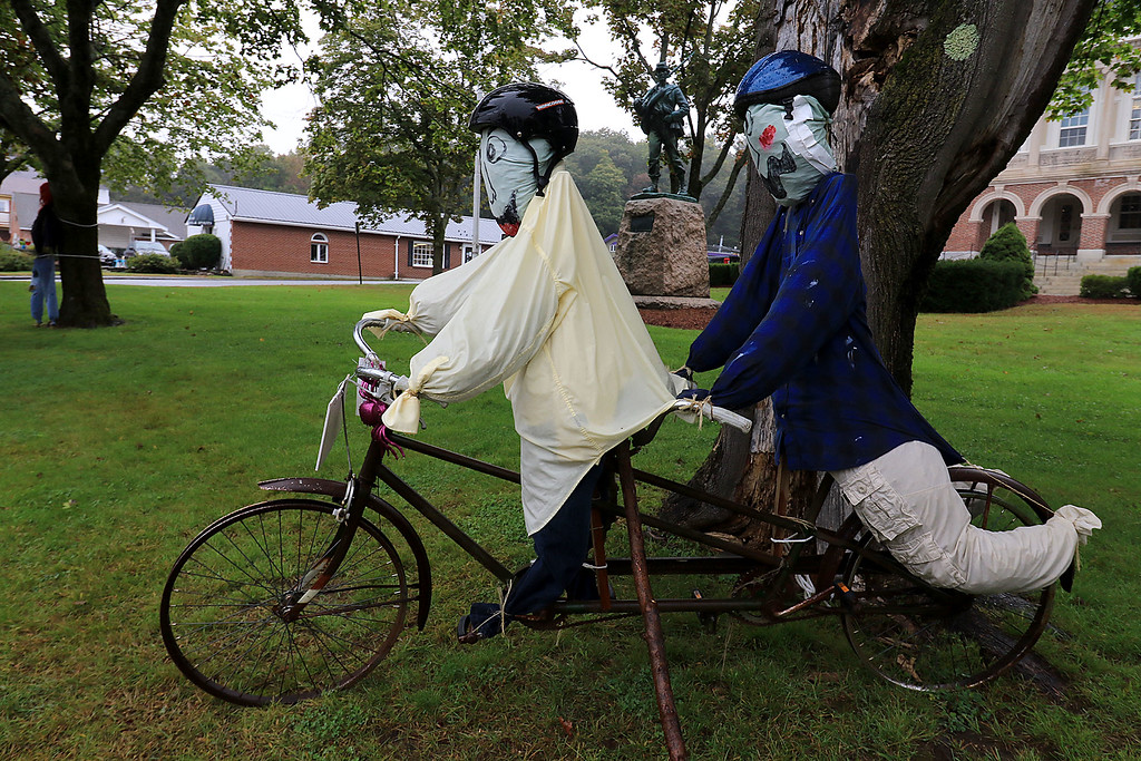 . Ashburnham is being taken over by scarecrows which you can go see in the downtown. This one was made by the Ashburnham Rail Trail Community. SENTINEL & ENTERPRISE/JOHN LOVE
