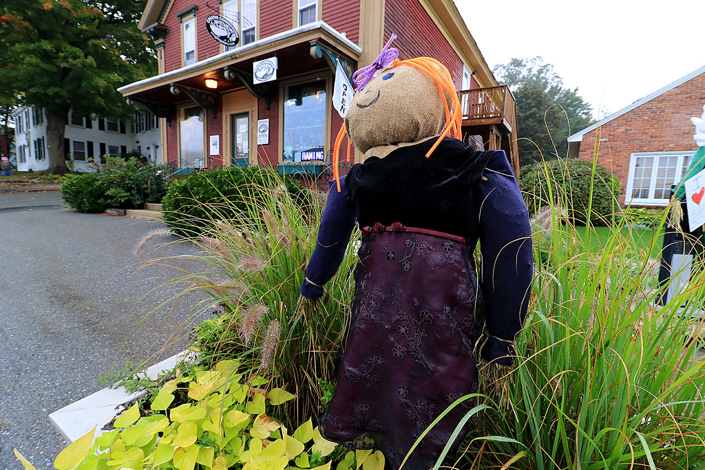 . Ashburnham is being taken over by scarecrows which you can go see in the downtown. This one was hiding in a flower bed and did not have tag on it. SENTINEL & ENTERPRISE/JOHN LOVE