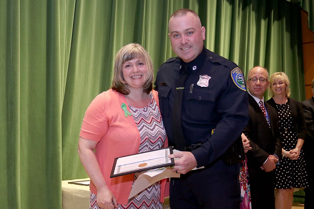 . Ashburnham-Westminster Special Education Parent Advisory council held their first remarkable inspiration in special education awards on Thursday, May 3, 2018. School Resource Officer Ashburnham Police Officer John Boucher, on right, stands with SEPAC Co-Chair Kendra Steucek as he receives one of the award at the event. SENTINEL & ENTERPRISE/JOHN LOVE