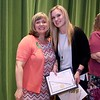 Ashburnham-Westminster Special Education Parent Advisory council held their first remarkable inspiration in special education awards on Thursday, May 3, 2018. Adjustment Counselor at Overlook Middle School Taryn Holman, on right, stands with SEPAC Co-Chair Kendra Steucek as she receives one of the award at the event. SENTINEL & ENTERPRISE/JOHN LOVE