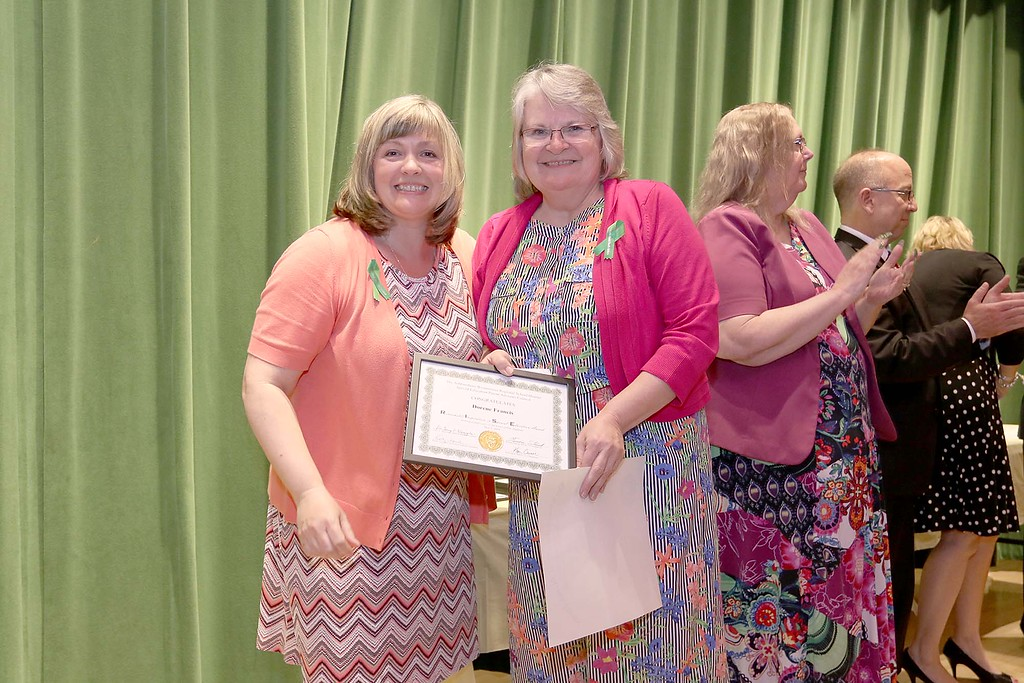 . Ashburnham-Westminster Special Education Parent Advisory council held their first remarkable inspiration in special education awards on Thursday, May 3, 2018. Extended Day Program Director at J.R. Briggs Elementary School Dorene Francis, on right, stands with SEPAC Co-Chair Kendra Steucek as she receives one of the award at the event. SENTINEL & ENTERPRISE/JOHN LOVE
