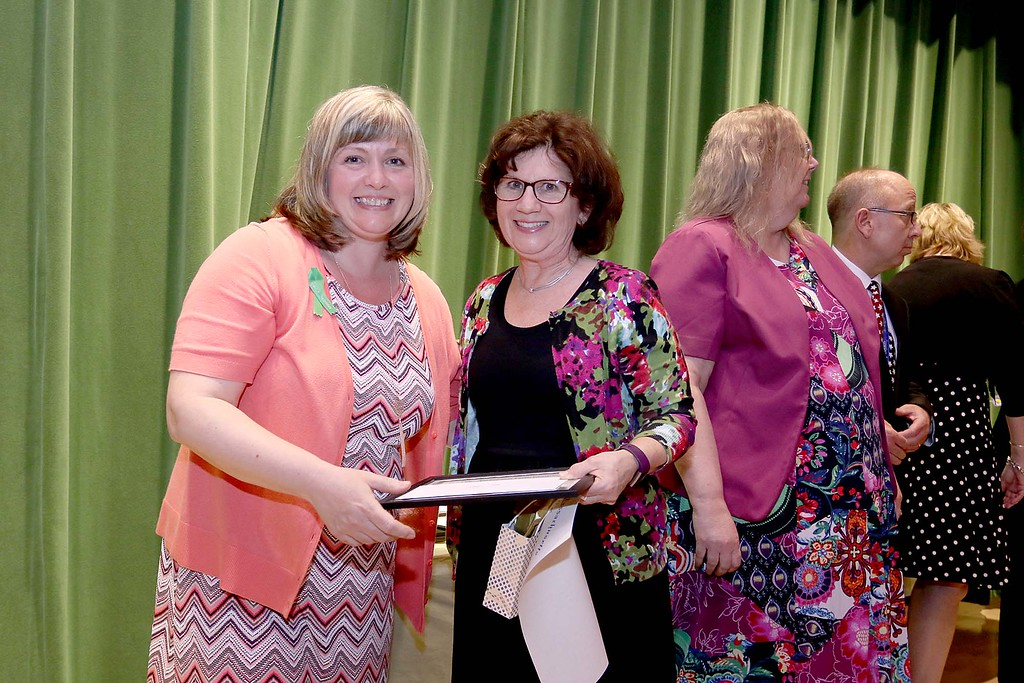 . Ashburnham-Westminster Special Education Parent Advisory council held their first remarkable inspiration in special education awards on Thursday, May 3, 2018. School Nurse at J.R. Briggs Elementary School Jane Flis, on right, stands with SEPAC Co-Chair Kendra Steucek as she receives one of the award at the event. SENTINEL & ENTERPRISE/JOHN LOVE