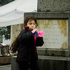 Arianna Thibault, 6, blows a toy horn during the Ashby Pumpkin Fest on Saturday afternoon. SENTINEL & ENTERPRISE / Ashley Green