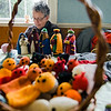 Noel McGonigle knits puppets during the Ashby Pumpkin Fest on Saturday afternoon. SENTINEL & ENTERPRISE / Ashley Green