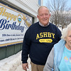 Ashby Town Committee member Murray Cox and volunteer Lillian Whitney stand near the historical society building with the 250th celebration banner was hanging just across the street from the Town Common. SENTINEL & ENTERPRISE/JOHN LOVE