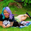 the girl with lavender & turquoise hair