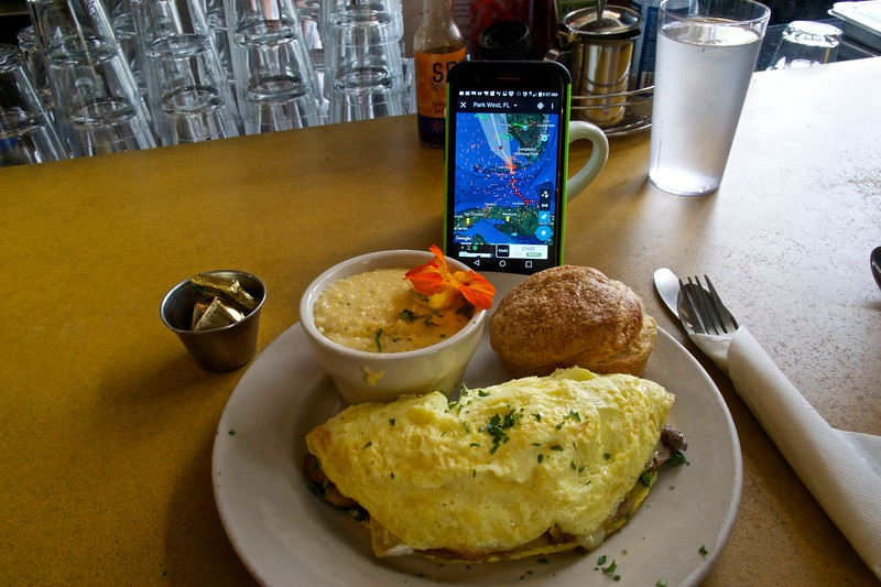 Monitoring Irma with omelet and grits