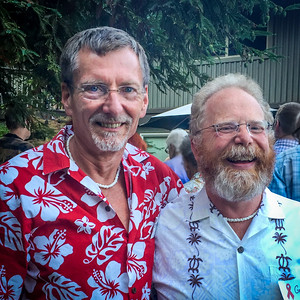 Galen and Geoffrey in Hawaiian Shirts to Honor Hollis