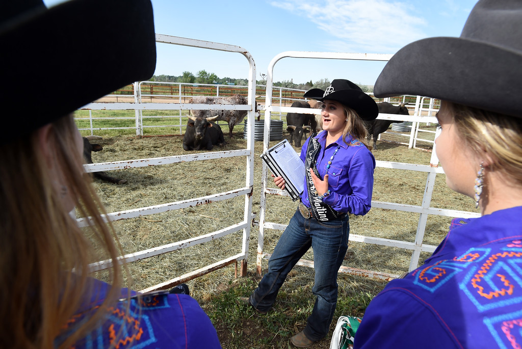 . Sydney Postale gives a tour of the behind the scenes of the rodeo to the Anderson family during the Ashley Doolittle Memorial Rodeo on June 10, 2017. For more photos, go to www.dailycamera.com. Cliff Grassmick / Staff Photographer/ June 10, 2017